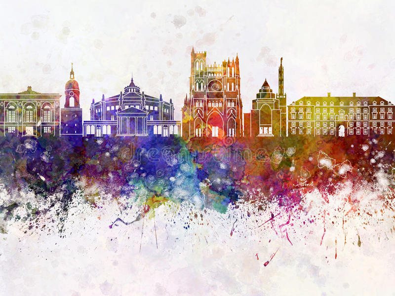 Amiens skyline in watercolor royalty free illustration