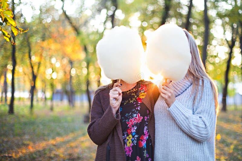 Amigas novas bonitas elegantes com algodão doce junto no fundo do parque do outono Tendo o divertimento e levantamento imagens de stock
