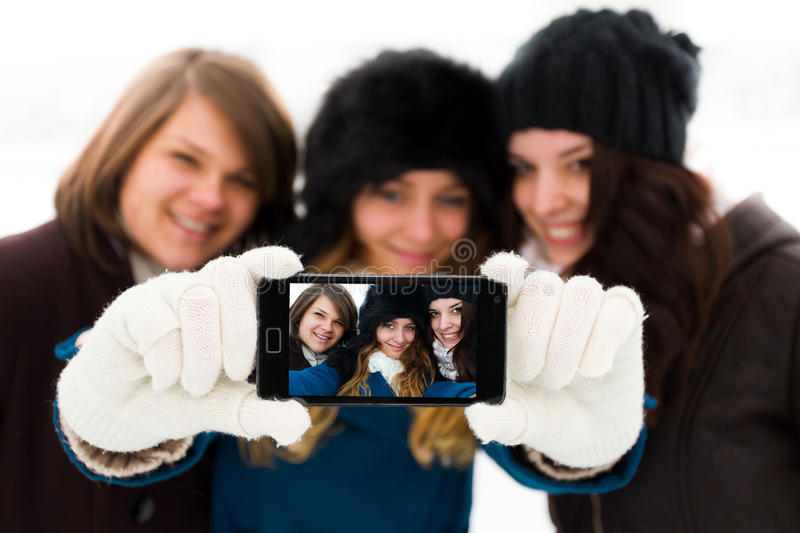 Amigas Selfies fotografia de stock royalty free