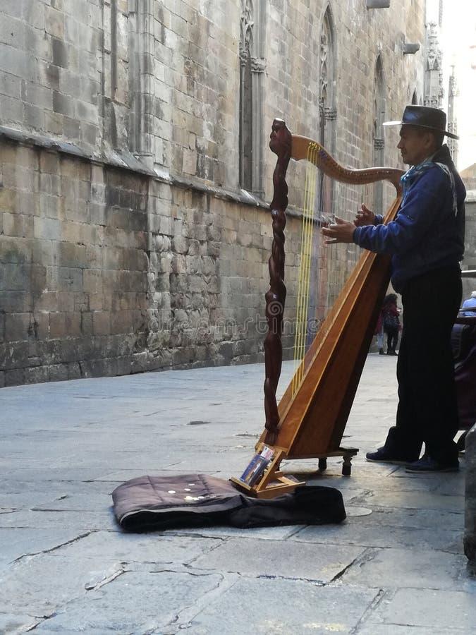 Amigo plaing sur une harpe photo stock