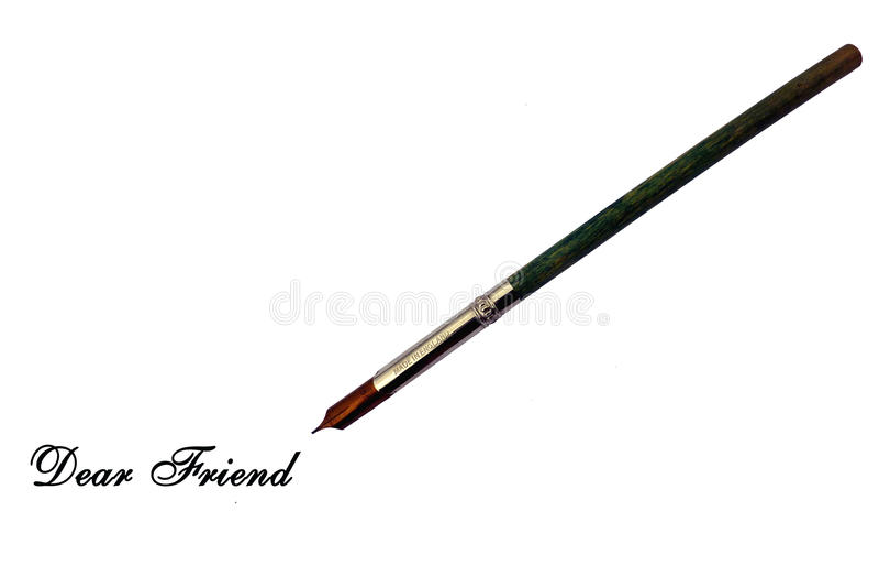 Amigo querido - pluma de la tinta del estilo del cazo fotografía de archivo libre de regalías
