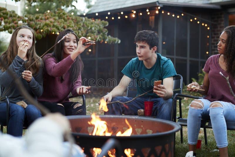 Amigos adolescentes que comem costumes do ½ do ¿ do sï em torno de um firepit imagens de stock