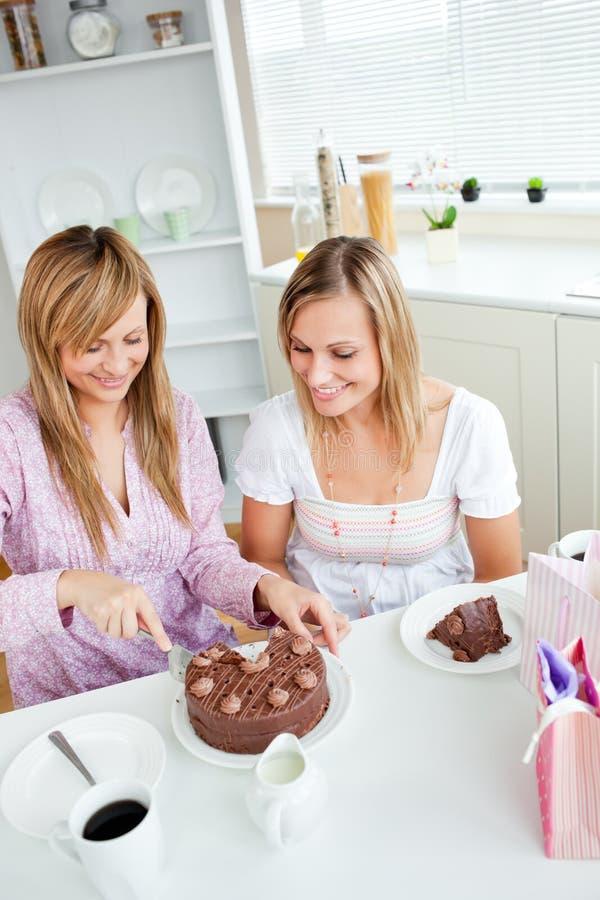 Amigos adoráveis que cortam um bolo de chocolate do aniversário fotografia de stock