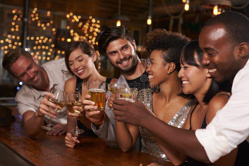 Amigos adultos novos que fazem um brinde pela barra em um partido fotos de stock royalty free