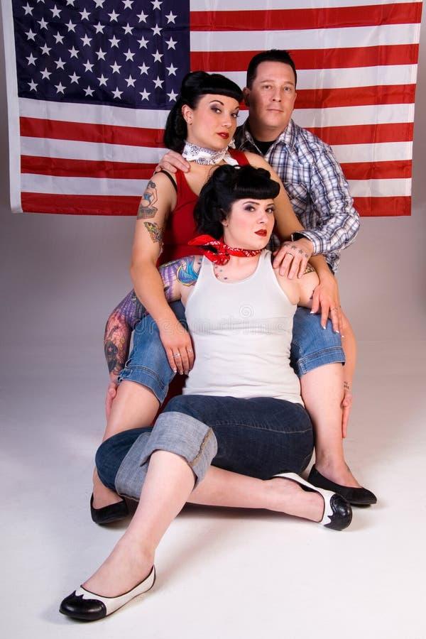 Amigos americanos de Rockabilly. fotos de stock royalty free