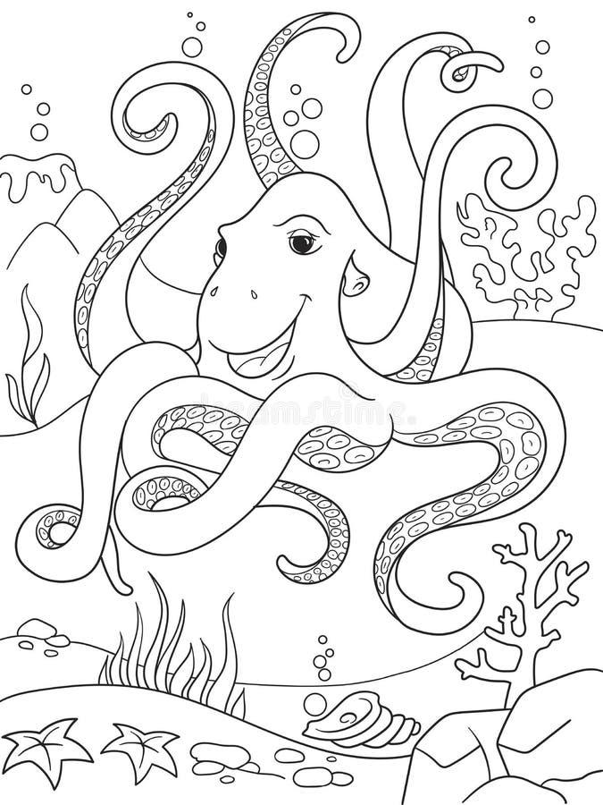 Amigos animais dos desenhos animados da coloração das crianças na natureza Mundo subaquático, polvo no chão do oceano ilustração royalty free