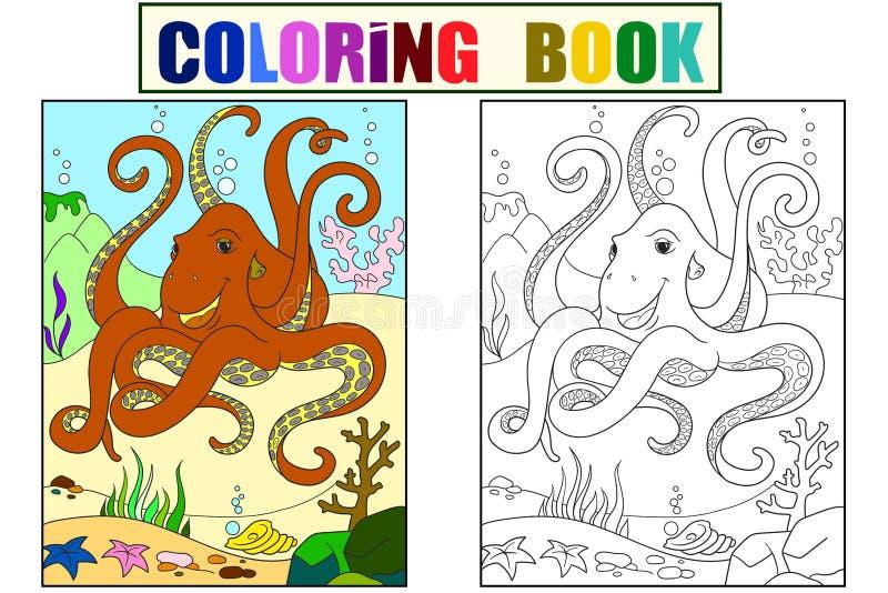 Amigos animais dos desenhos animados da cor e da coloração na natureza Linhas pretas, fundo branco Mundo subaquático, polvo no ilustração royalty free