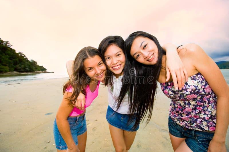 Amigos asiáticos felizes da mulher imagem de stock