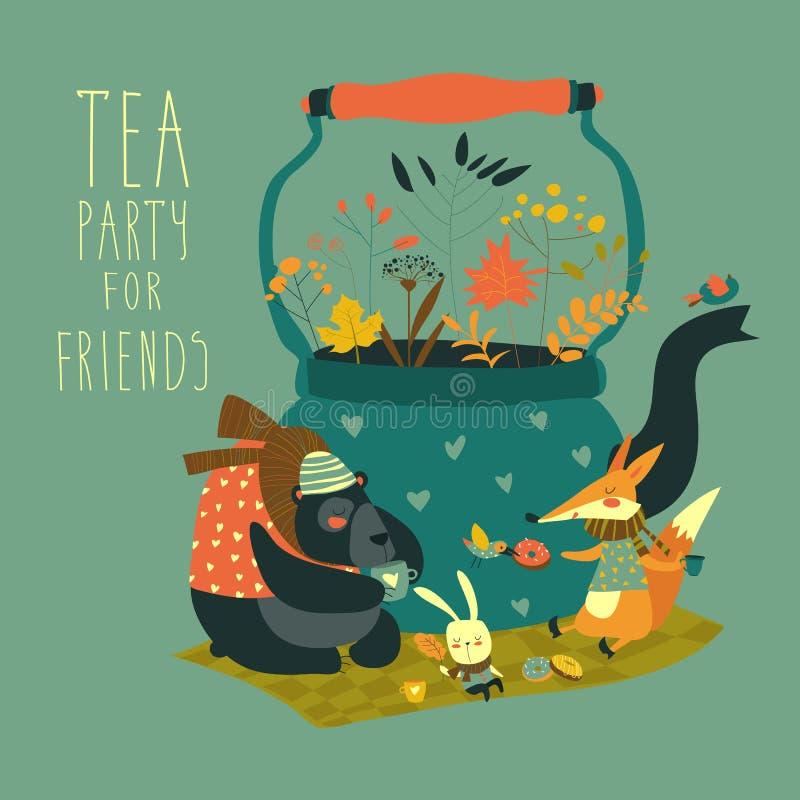 Amigos bonitos dos animais que sentam-se em torno do bule ilustração royalty free