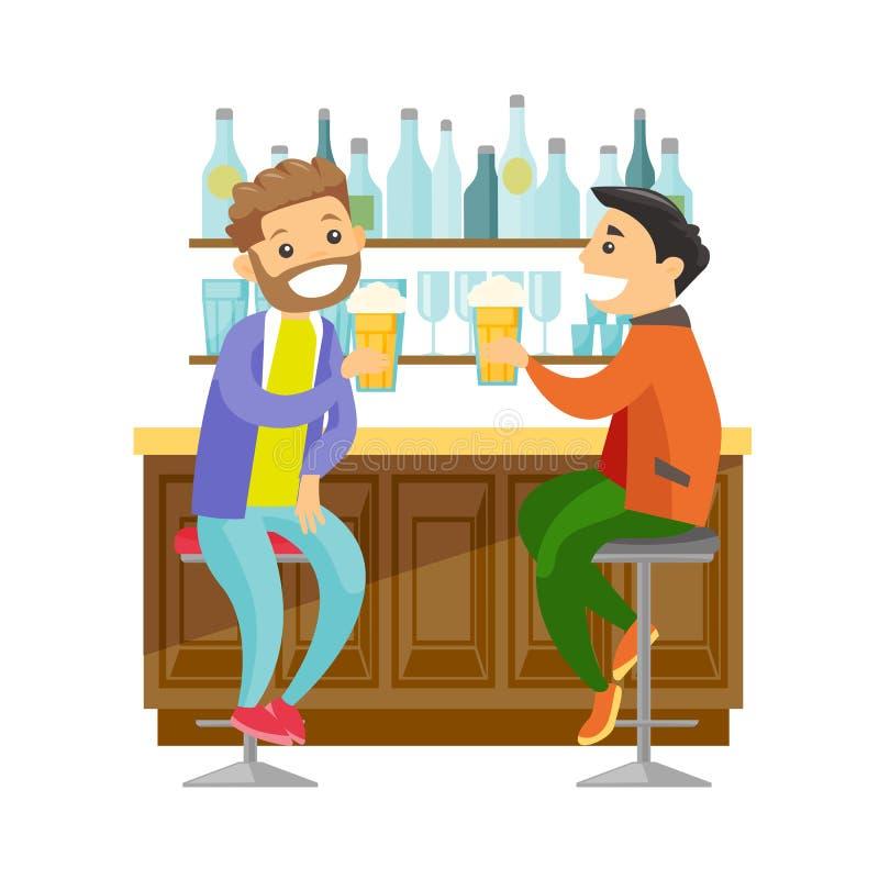Amigos brancos caucasianos que bebem a cerveja em uma barra ilustração stock