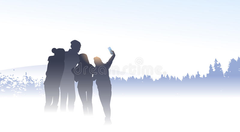 Amigos da silhueta do viajante do grupo dos povos que tomam o inverno Forest Nature Background da montanha da foto de Selfie ilustração do vetor