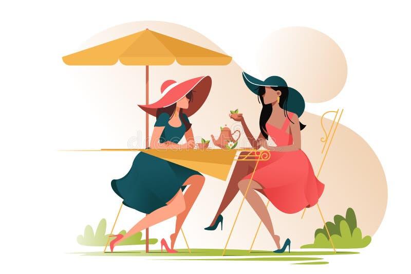 Amigos de chica joven planos en caf? en el encuentro al aire libre ilustración del vector