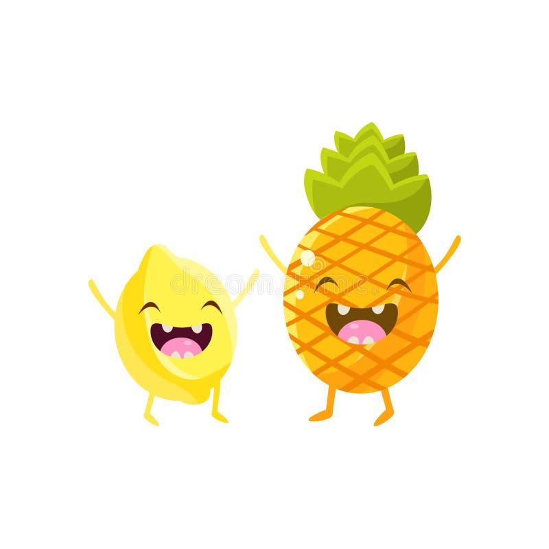 Amigos de la historieta del limón y de la piña stock de ilustración