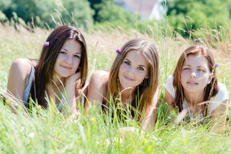 Amigos de las mujeres jovenes de la cámara de tres sonrisa feliz y mirada que mienten en alta hierba verde foto de archivo