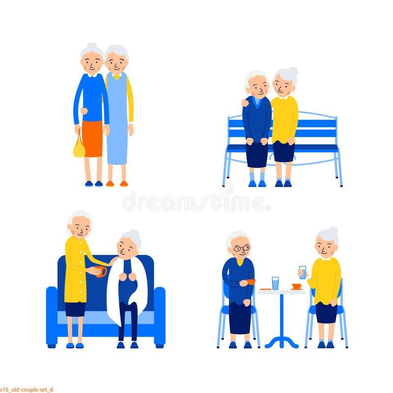 Amigos de las mujeres mayores Fije la atracción de los pares de más viejas mujeres Más viejas mujeres se están colocando, sentada stock de ilustración