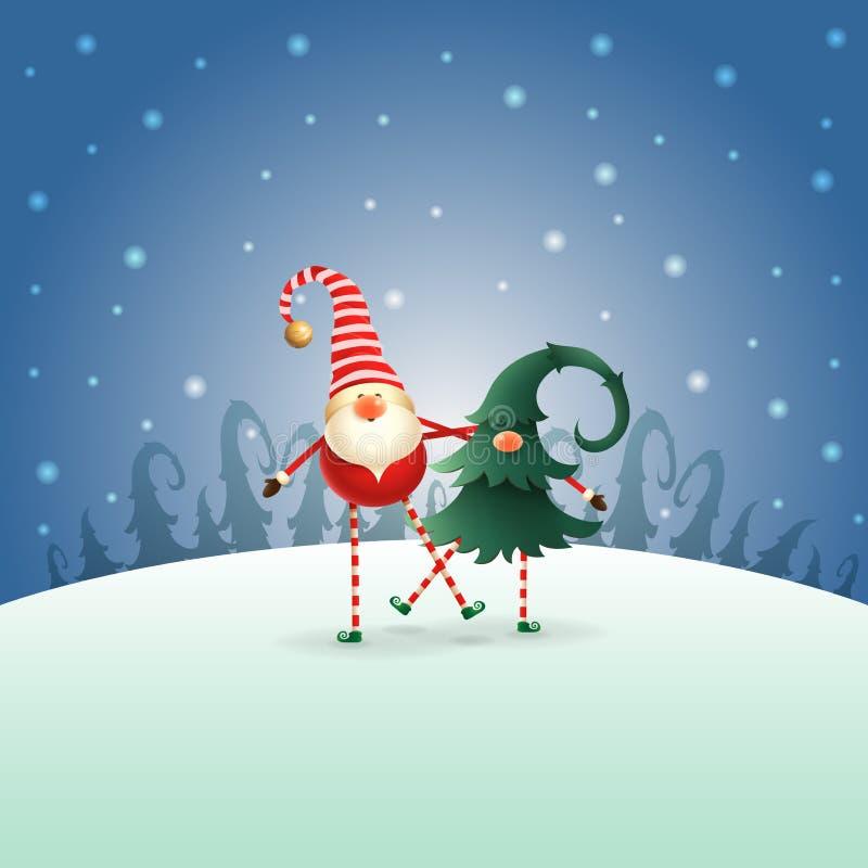 Amigos de los gnomos de la feliz Navidad que juegan y que bailan - paisaje azul de la noche del invierno libre illustration