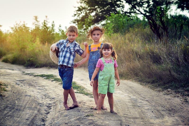 Amigos de los niños en un paseo en el campo descalzo imagen de archivo