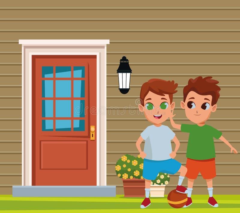 Amigos de los niños que juegan e historietas sonrientes libre illustration