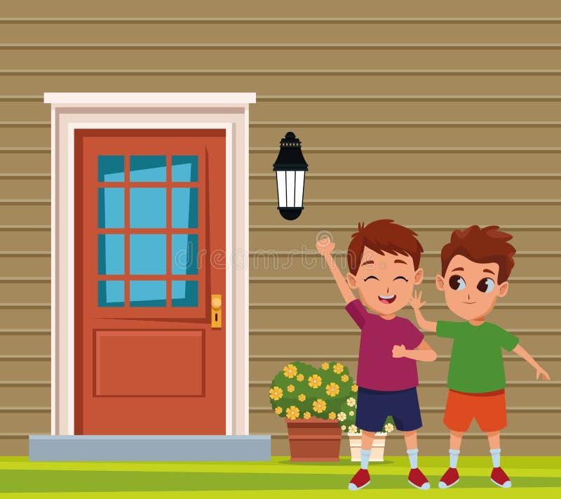 Amigos de los niños que juegan e historietas sonrientes stock de ilustración