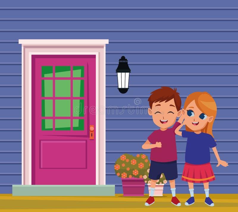 Amigos de los niños que juegan e historietas sonrientes ilustración del vector