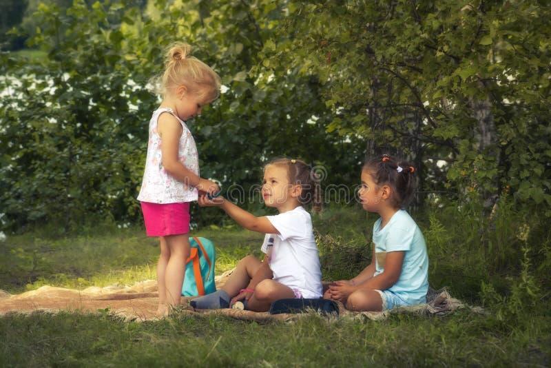 Amigos de muchachas felices de los niños que juegan junto al aire libre en césped de la hierba en parque como forma de vida del c imagenes de archivo