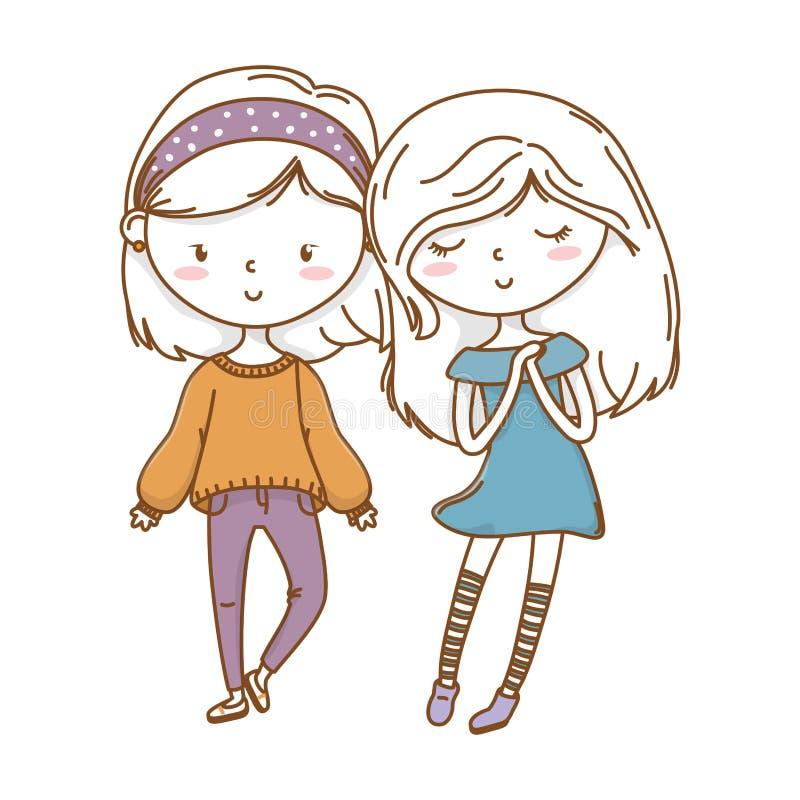 Amigos de muchachas lindos de los pares libre illustration