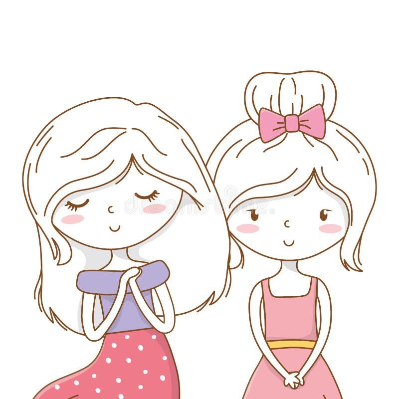 Amigos de muchachas lindos de los pares stock de ilustración