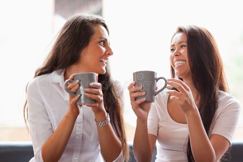 Amigos de riso que comem um café fotos de stock royalty free