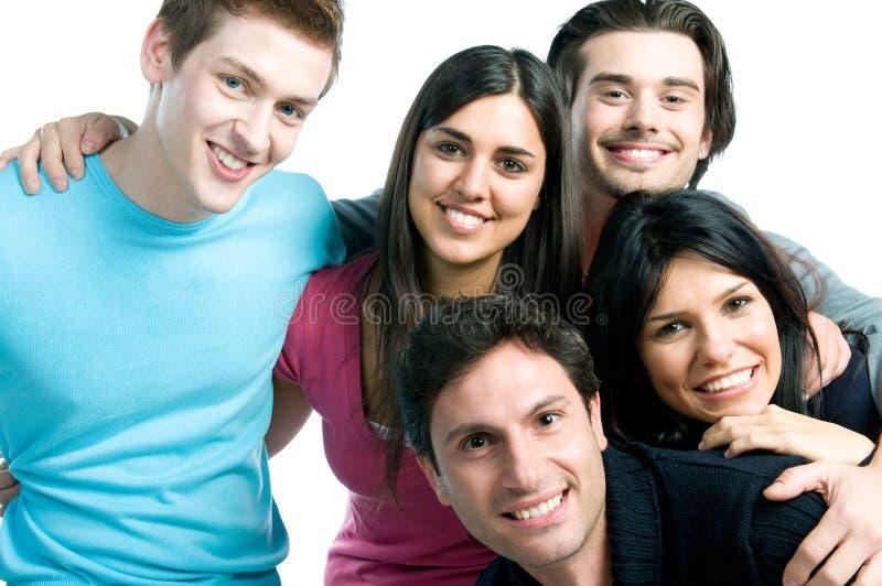 Amigos de sorriso felizes perto acima fotografia de stock