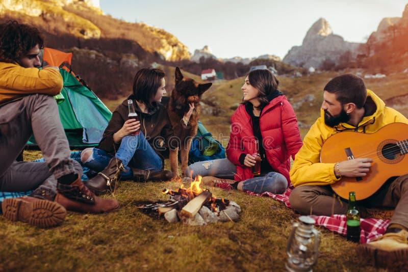 Amigos de sorriso que sentam-se em torno da fogueira no acampamento fotos de stock royalty free