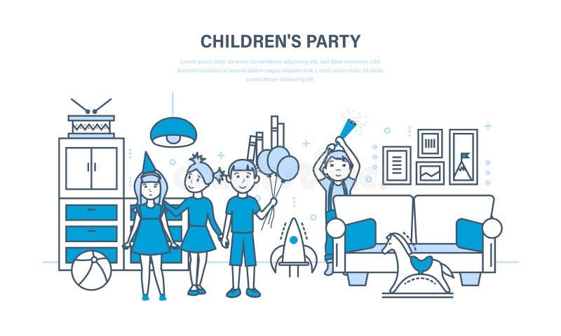 Amigos del partido del ` s de los niños, contra la perspectiva de un cuarto interior ilustración del vector