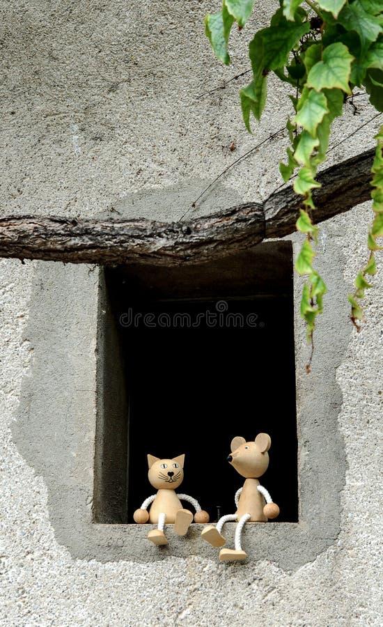 Amigos do gato e do rato fotografia de stock