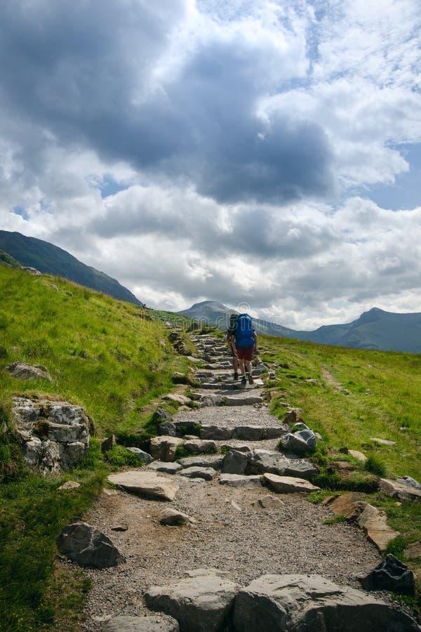 Amigos do turista em uma parte superior das montanhas no montanhas escocesas Natureza de Escócia Os povos do turista apreciam um  fotografia de stock