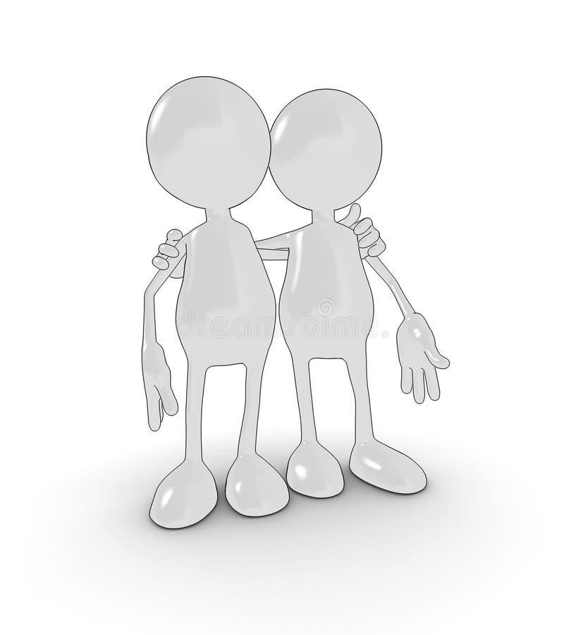 Amigos dos desenhos animados ilustração stock
