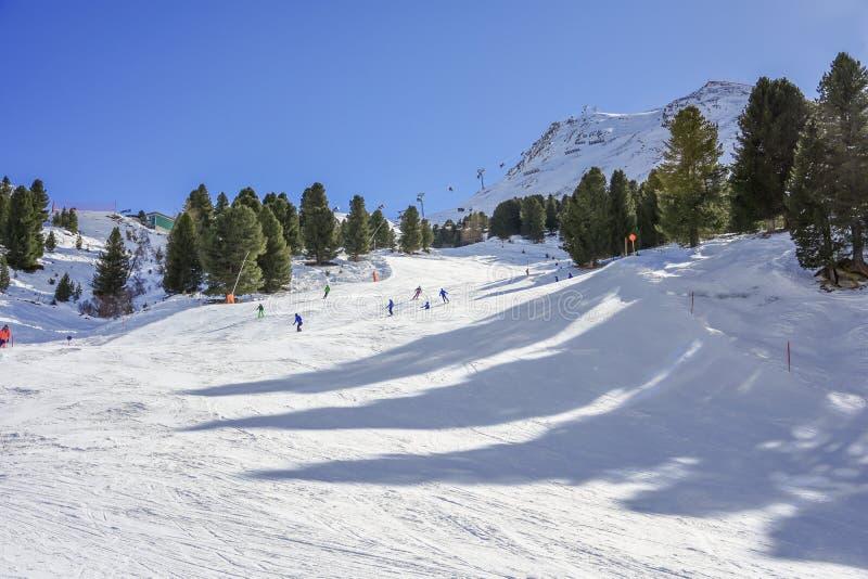 Amigos dos esquiadores no ambiente da neve da montanha com o céu limpo azul imagem de stock royalty free