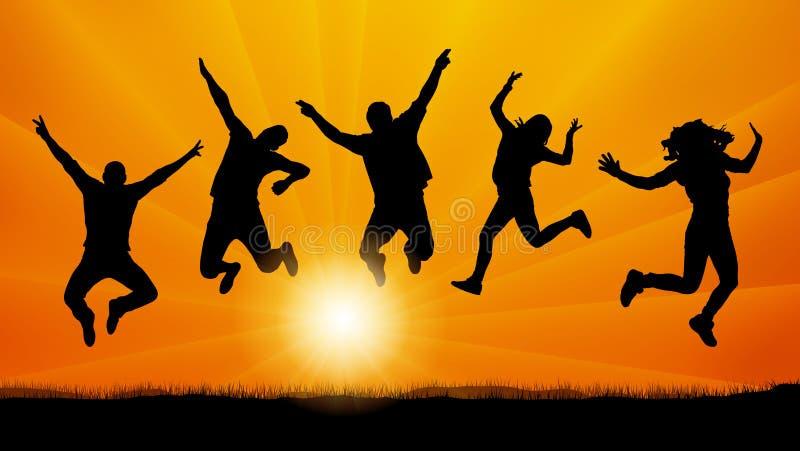 Amigos dos povos que saltam no por do sol, vetor da silhueta ilustração stock