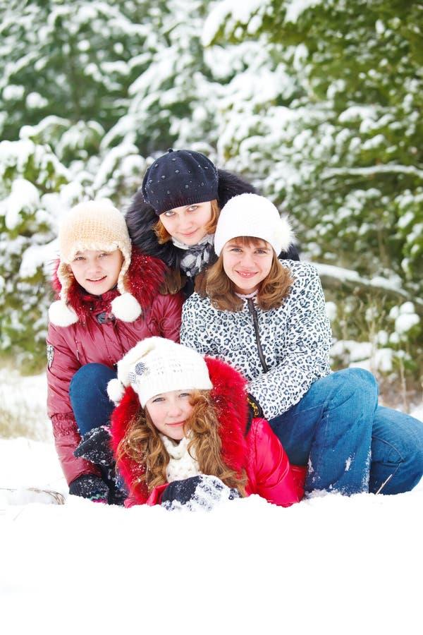 Amigos em um parque do inverno imagens de stock royalty free