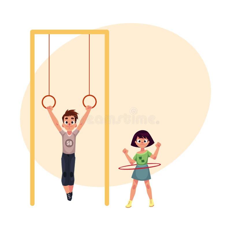 Amigos en el patio, colgando en los anillos gimnásticos, aro de giro del hula ilustración del vector