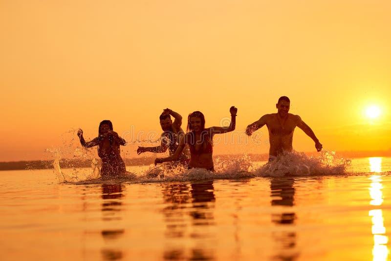 Amigos eufóricos que nadam na noite foto de stock royalty free