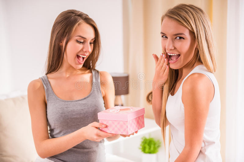Amigos fêmeas foto de stock