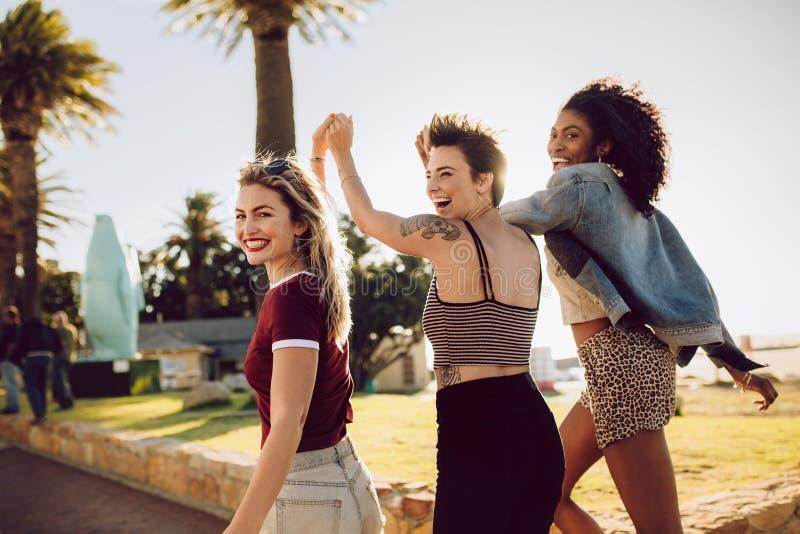 Amigos fêmeas que apreciam em um parque imagens de stock