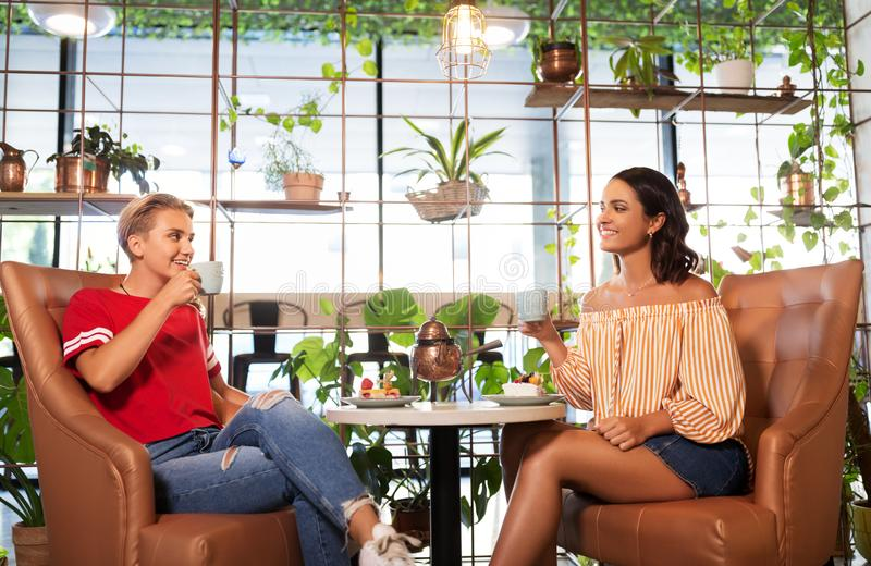 Amigos fêmeas que bebem o chá e que falam no café imagens de stock