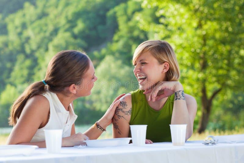 Amigos fêmeas que picknicking imagem de stock royalty free