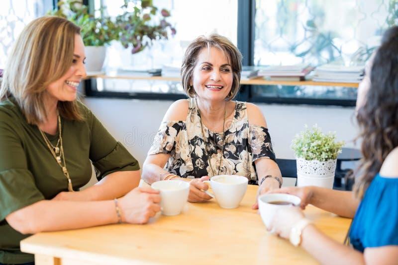Amigos fêmeas que relaxam em um café imagens de stock royalty free