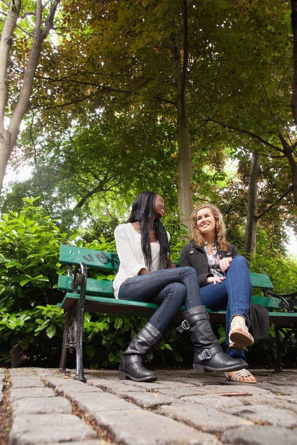 Amigos fêmeas Relaxed que conversam no parque imagem de stock royalty free