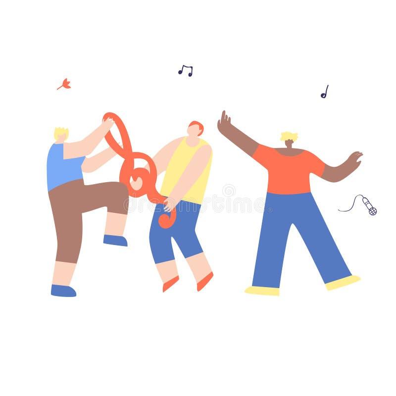Amigos felices de baile del hombre de la banda musical que se divierten libre illustration
