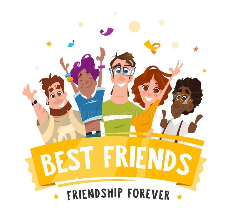 Amigos felices de los estudiantes de los adolescentes de la sonrisa del equipo del grupo libre illustration