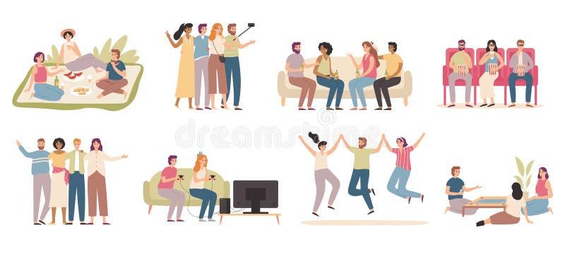 Amigos felices La gente amistosa gasta tiempo junta, al amigo que juega al juego y que habla con vector plano de los amigos ilustración del vector