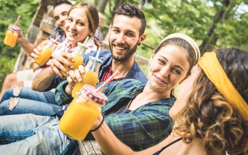 Amigos felices que beben el zumo de fruta anaranjado sano en la comida campestre del campo - millennials de la gente joven que se fotos de archivo