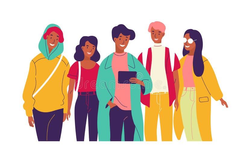 Amigos felices que miran el vídeo junto El grupo de hombres y de mujeres sonrientes jovenes se vistió en la ropa de moda que mira stock de ilustración